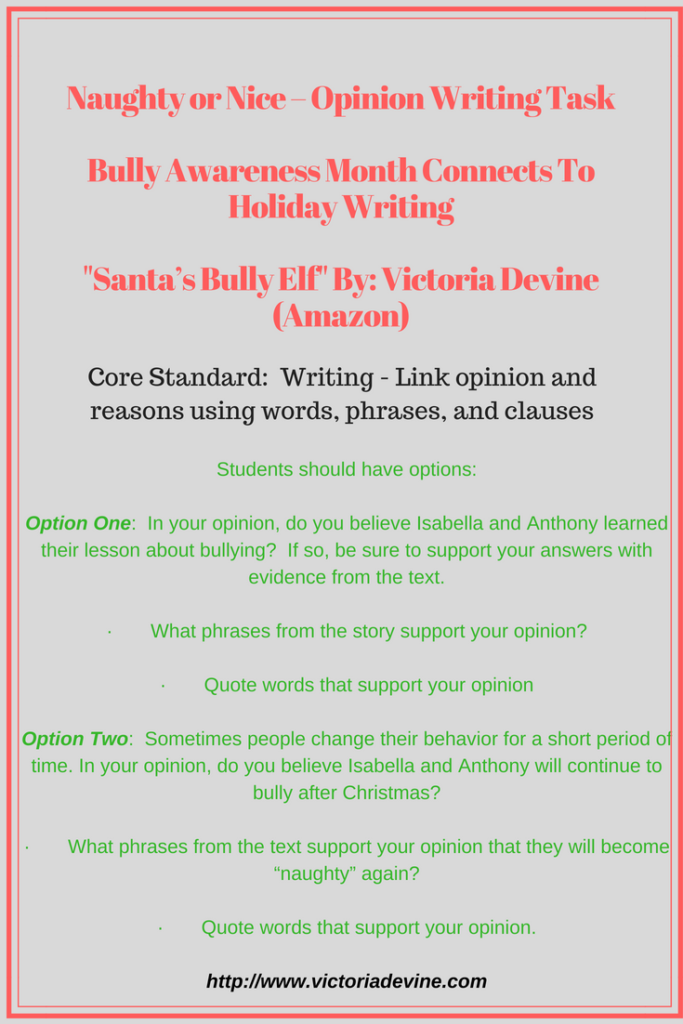 Naughty or Nice Opinion Writing Task Lesson Plan
