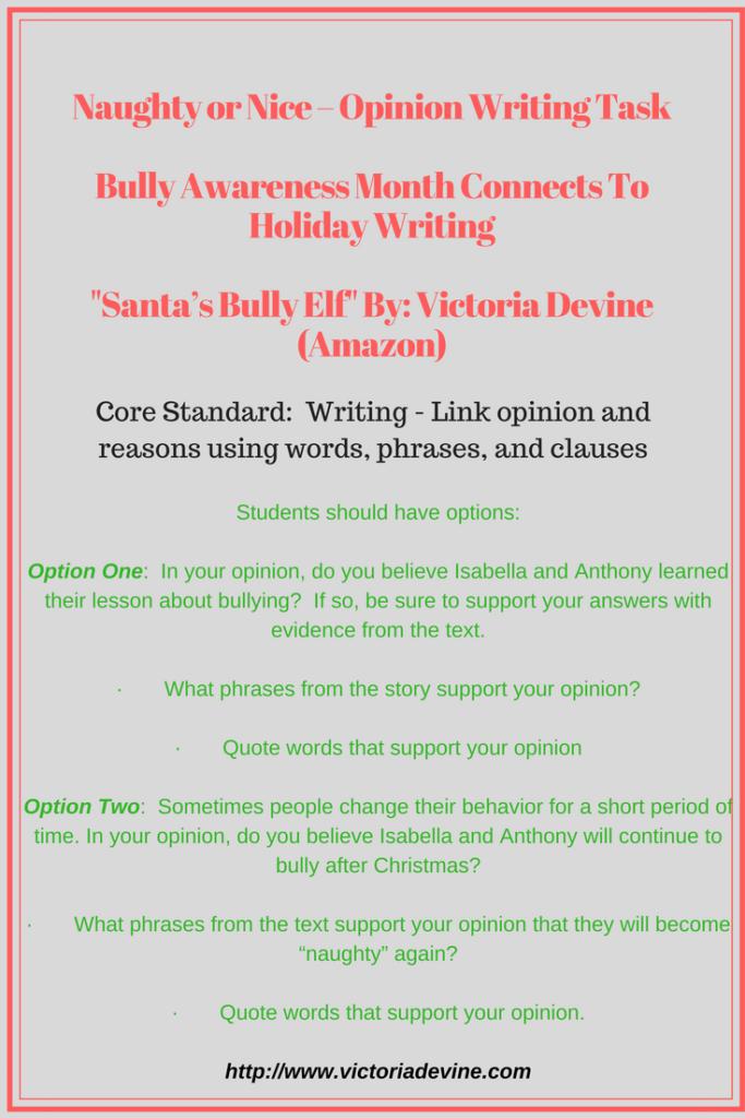 Naughty or Nice Opinion Writing Task Lesson Plan